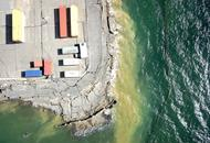 Arial view of ocean and cargo containers