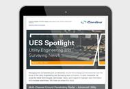 Image of the May 2019 Cardno UES newsletter on a tablet