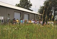 People lined up to enjoy Cardno Native Plant Nursery OpenHouse