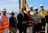 Camilla Solomon, Senior Country Officer, ADB Pacific Office in Nauru, the President of Nauru, Lionel Aingimea, and  Sonya Gray, Acting High Commissioner,  Australian High Commission, Nauru, with the project team