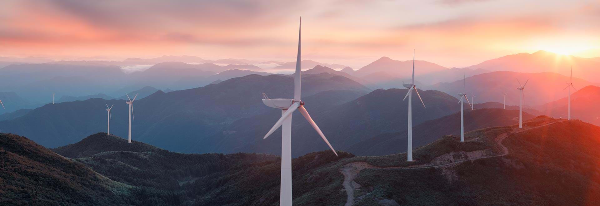 Wind turbines on the mountains