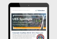 Image of the UES Spotlight newsletter on a tablet