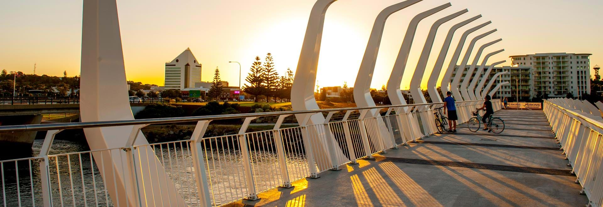 Sunset photo of the bridge at Koombana Bay that has been redeveloped