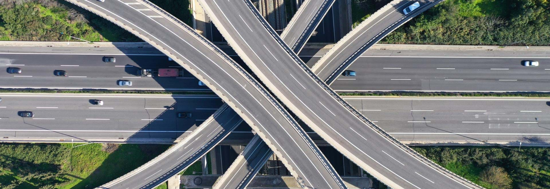 Aerial view of motorway interchange
