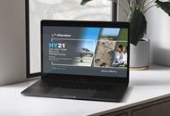 HY21 Results Presentation displayed on laptop screen