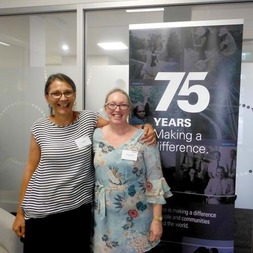 Cardno employees Sharon Harrison and Rose Djokic attending the Rockhampton Office launch