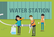 Illustrative graphic of water station for Wellington Water project
